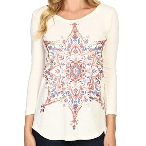 NWT! Lucky Brand Metallic Printed Casual Top White